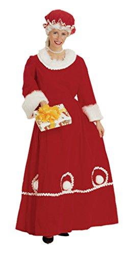 Rubies Womens Mrs. Santa Claus Long Red Velvet Christmas Party Fancy Costume, S (6-8) (Mrs Marvel Costume)