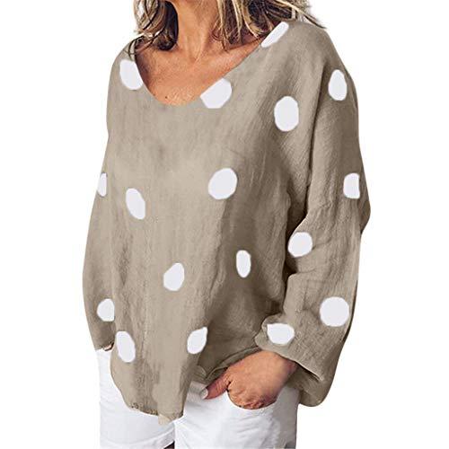 (Gemira Cotton Linen Tops for Women Plus Size Clothing Boat Neck Long Sleeve Polka Dot Shirts Blouses)