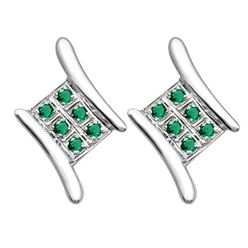 0.18 Ctw Emerald Stud Earrings For Women By Orchid Jewelry : Hypoallergenic Sterling Silver Earrings For Sensitive Ears, Nickel Free Competition Jewelry, May Birthstone Studded Earrings