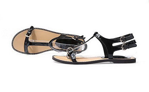 Amoonyfashion Donna Open Toe Sandali Con Fibbia In Pelle Verniciata Senza Tacco Neri