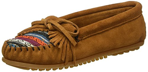 Kilty Suede Moc - Minnetonka Women's Kilty Suede Moc Brown Suede/Arizona Fabric Slipper 11 M
