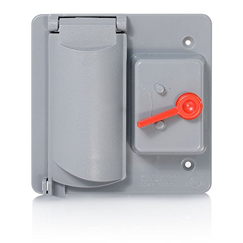 Flat Plastic Receptacle Lid (Leviton WP2SD-GY Weatherproof Cover, Plastic Flat Lid, 2-Gang Switch & Duplex Receptacle, Gray)