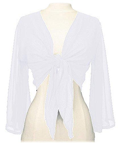 Indian Trendy Women's Chiffon Flair Wrap Tie Top Choli Blouse Belly Dance Gypsy (One Size, White)