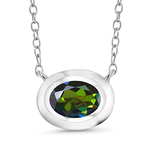 - Gem Stone King 0.80 Ct Oval Green Mystic Topaz 925 Sterling Silver Pendant With Chain