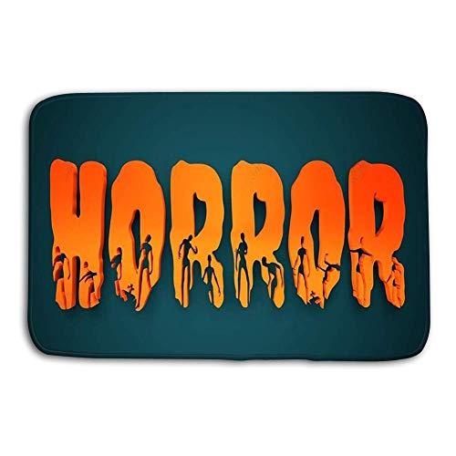 cokefy Doormat Indoor Outdoor Horror Word Silhouettes Them Halloween Theme Background d Rendering -