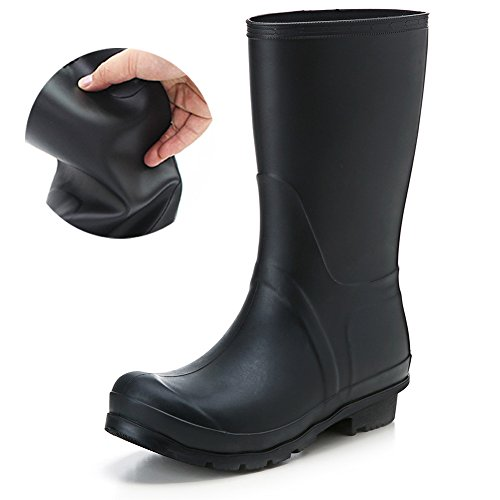 Abuqino Anti-Slip Ladies' Mid-Calf Fashion Rain Shoes Rain Boots PVC Shoes Elastic Type Shoes Women's Boots EU39