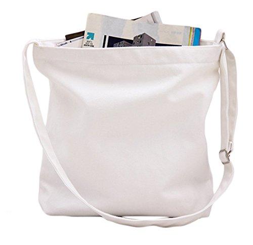 Doitsa Sac Courses Loisirs et Unie Blanc à Simple Bandoulière Couleur à Blanc Étudiant Cabas Sac de Main Sac rv8qr