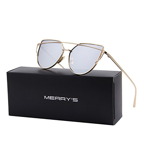 MERRY'S Designer Mirrored Cat Eye Sunglasses For Women UV400 Classic Style S7882 (Gold&Silver, - Rose Reflective Gold Sunglasses