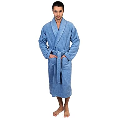 TowelSelections Turkish Cotton Bathrobe Terry Shawl Robe for Men Medium/Large Blue