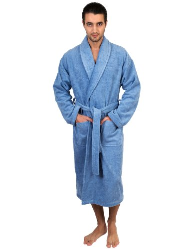 (TowelSelections Men's Robe, Turkish Cotton Terry Shawl Bathrobe Medium/Large Blue)