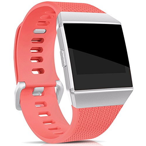 Hotodeal Band Compatible Fitbit Ionic Bands Waterproof,Replacement Sport Strap Accessory Wristbands Smartwatch, 13 Classic Colors Coral Small