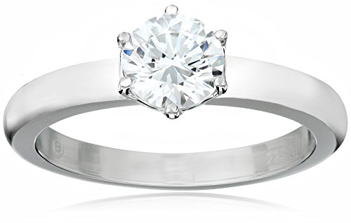 Platinum-Plated Sterling Silver Solitaire Ring set with Round Swarovski Zirconia (1 cttw), Size ()