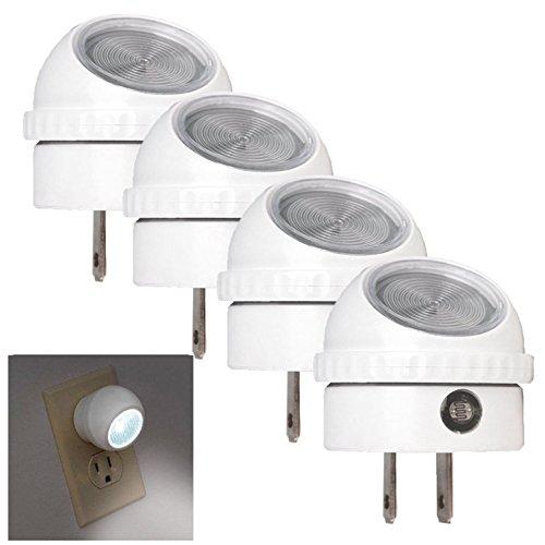 4 Pack Awe-inspiring Fashionable LED Night Light Hallway Energy Saving Auto Sensor Photocell Plug-In Bright Color White