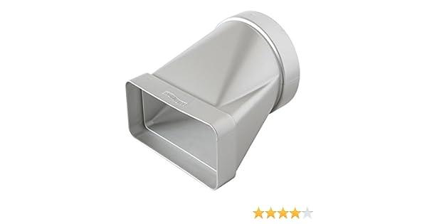 La Ventilazione CGO112AC - Junta horizontal de ABS de tubo redondo a rectangular, cromado satinado, 100 mm - 120 x 60 mm: Amazon.es: Bricolaje y herramientas