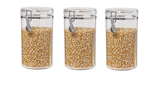 Oggi 72-Ounce Clear Acrylic Canister with Locking Clamp, Set Of 3