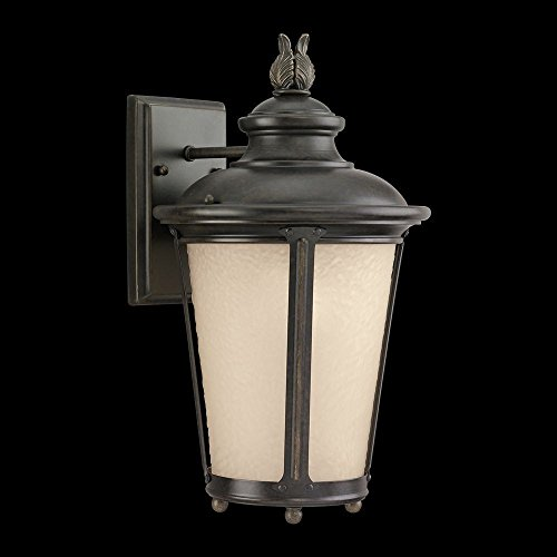 241-780 Outdoor Sconce with Etched Hammered with Light Amber Glass Shades, Burled Iron Finish (780 Sea Gull Lighting)