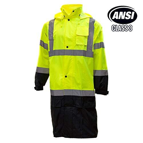 (RK Class 3 Rainwear Reflective Hi-Viz Black Bottom Long Rain Coat RC-CLA3-LM22 (Extra Large, Lime))
