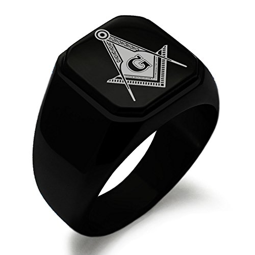 Black IP Plated Stainless Steel Freemasons Masonic Royal Compass Symbol Square Flat Top Biker Style Polished Ring, Size 13