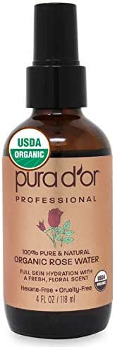 PURA D'OR Organic Rose Water Toner (4oz) - 100% Pure USDA Organic - Full Skin Hydration - Control Excess Oils & Acne - Cleanses & Softens Skin - Promotes Skin Cell Regeneration - For All Skin Types