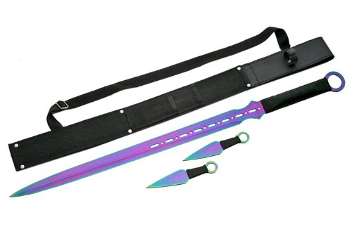 Szco Supplies Ninja Sword with Throwing Knives, (Throwing Knives Rainbow)