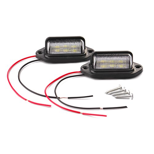 CZC AUTO 2PCS 12V LED Exterior License Plate Tag Light, Interior Courtesy Dome/Roof Trunk/Cargo Underhood Lamp, Total 12 White SMD Bulb, Waterproof/Rainproof, Legal for Car Truck RV Trailer