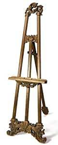 """ArtRight Carved Wood Ornate Floor Display Easel with Rich Leafed Finish, 68"""" tall"""