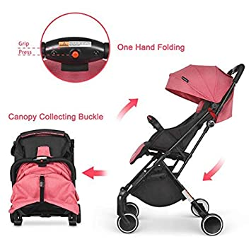 Besrey Compact Lightweight Baby Stroller Pram Stroller Recline Baby Buggy for Airplane Ultra Lightweight Baby Trolley with Luggage Carry Handle