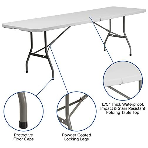 Flash Furniture 8-Foot Bi-Fold Granite White Plastic Banquet and Event Folding Table with Carrying Handle