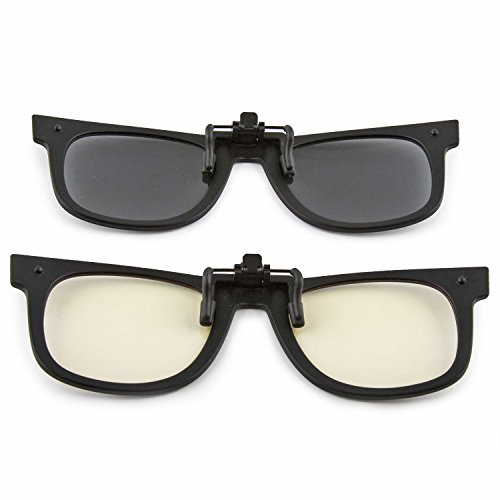 772c8d7680 ClipShades 2 Pack Lightweight Clip-on Sunglasses and Anti Blue Ray Computer  Glasses Combo with