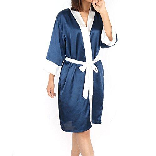 in metà lunghezza Vestito floreali a Blue White leggera L donna Vestaglia sourcingmap® Fuchsia raso dark da 5fU0YnY