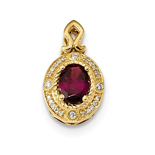 14k Yellow Gold Rhodolite Diamond Pendant Charm Necklace Gemstone Fine Jewelry For Women Valentines Day Gifts For Her from ICE CARATS