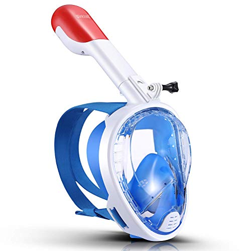 Wirezoll Snorkel Mask, One Size Full Face Diving Mask with Camera Mount for Adults & Kids - Safe Snorkeling Experience/180° Panoramic View/Easy Breath/Anti-Fog/Anti-Leak ()