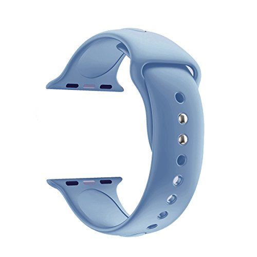 YANCH for Apple Watch Band 38mm, Soft Silicone Sport Band Replacement Wrist Strap for iWatch Nike+,Sport,Edition,S/M,Size,Denim Blue