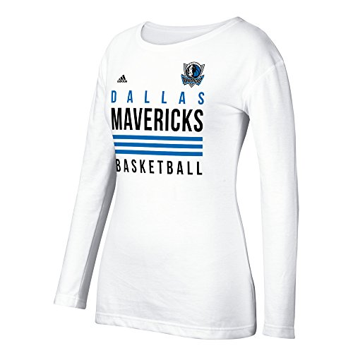 Adidas Dallas Mavericks T-shirt (NBA Dallas Mavericks Women's 3 Stripe Stack Long Sleeve Crew Tee, Medium, White)