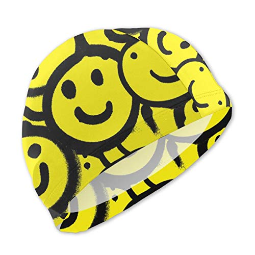 - Smany Smiley Face Kids Swim Caps,High Elasticity, No Deformation Use,UV Protection, Waterproof Comfy Swimming Bathing Cap for Short and Long Hair