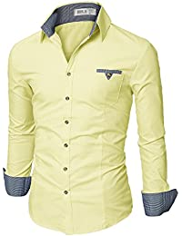 Mens Slim Fit Cotton Flannel Long Sleeve Button Down Shirts