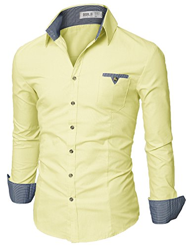 Doublju Mens Slim Fit Long Sleeve Flannel Dress Shirt, Yellow X-Large