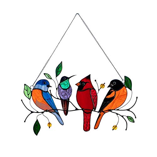 Multicolor Birds on a Wire High Stained Glass Sun Catcher Window Panel, Window Hangings Personality Bird Material Pendant for Home Window Hanging Ornament Decoration Bird Series Ornaments (RED)