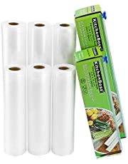 KitchenBoss Vacuümrollen met cutter-box, 6 rollen, 28 x 500 cm en 20 x 500 cm, BPA-vrij, voor alle vacuümverpakkers, sterk en scheurvast en herbruikbare vacuümzakken voor sous-vide