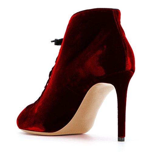 Tyylikäs Velvet Nilkkurit Stiletto Peep 15 Meitä Toe Punainen Koko Solmia Korkokengät Fsj Juhlakengät Naiset 4 wHUn1Y5xq8