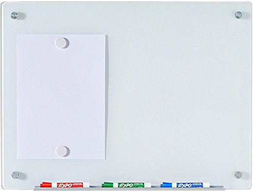 Audio-Visual Direct White Magnetic Glass Dry-Erase Board Set - 17 3/4 x 23 5/8 Inches - Glass Easel