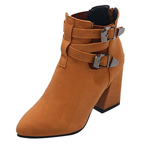 Emma Yellow High Heel Boots - Women Belt Buckle Boots Ladies Fashion