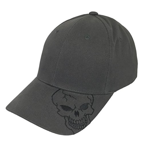 Skull Charcoal Cap (Magic Apparel Skull Skeleton Baseball Cap (Skull on Brim, Charcoal Gray))