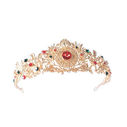 [FF Gold Royal Queen Crown Costume Party Tiara for Women] (Gold Queen's Tiara)