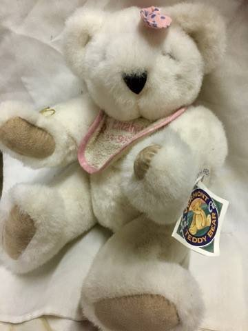 "Shelby Elizabeth 12"" Large White Plush Teddy Bear with Pink Bow & Bib by Vermont Teddy Bear Company Rare"