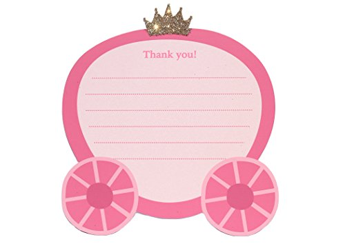 (8 Princess Thank You Note Cards | Princess, Carriage, Pink, Gold Glitter, Tiara | Thank You Cards)
