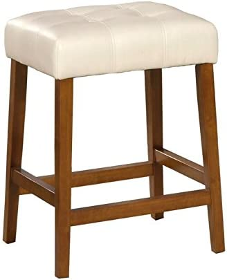 HomePop Leatherette Square Tufted Backless Counter Height Stool, 24-inch, Ivory