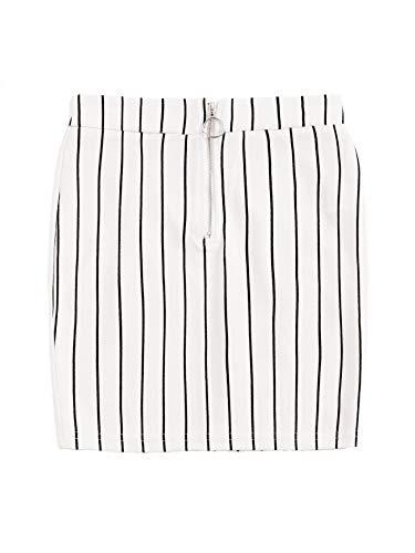 Zip Pencil Skirt - WDIRARA Women's Casual Mid Waist Above Knee O-Ring Zipper Front Striped Skirt White XS