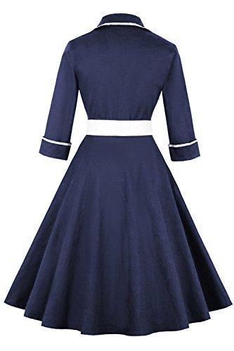 Blue Rockabilly Hepburn Dresses Gown Babyonline Vintage Retro Fs1897 1950s Navy Women Audrey 4qBZwR