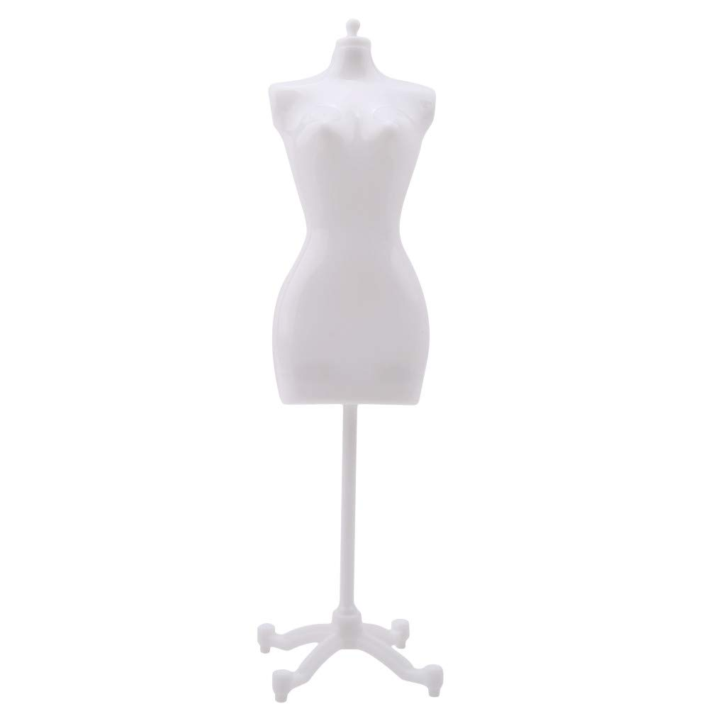 L_shop Display Holder Dress Clothes Stand Dressmaker Dummy Support Holder Mannequin Model Dolls Gown Mannequin Dress Model Stand Doll House Accessory,plastic,white